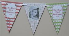 Personalizzato Natale Bandierine Banner Del Neonato 1st First Natale