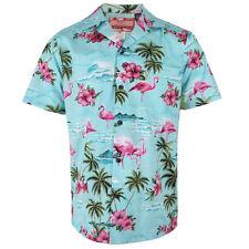 Robert J. Clancey Azul Flamingo Rockabilly Auténtico Camisa Hawaiana S-4XL