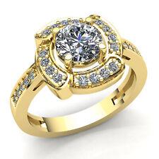 2carat Round Cut Diamond Ladies Bridal Accent Solitaire Engagement Ring 10K Gold