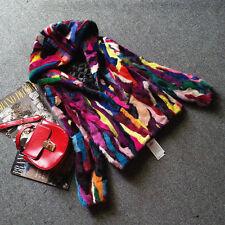 genuine mink fur coat with hood women fashion colorful  fur multi-color jacket