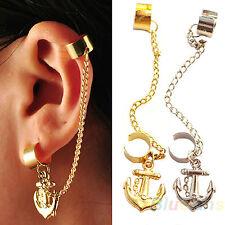 Gothic Punk Rock Earring Chain Anchor Ear Cuff Wrap Clip gift UK biker 2 colours