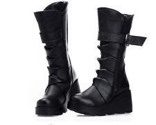 Women motor platform oxfords wedge heel buckle chic mid calf boot punk shoes zip
