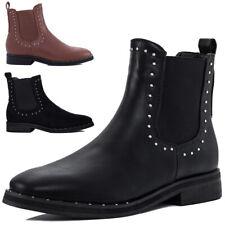 Damen Flache Chelsea Boots Stiefeletten Gr 36-41