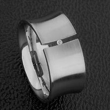 Edelstahl Ring Brilliantschliff Zirkonia Spannring breiter Damen 11mm Silber neu