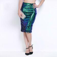 UK Women Sequin Pencil Skirt Ladies High Waist Party Clubbing Bodycon Midi Skirt