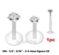 """Prong Set Bio-Flex Labret Tragus Piercing 1pc. 16g~1/4"""", 5/16"""" 2-3-4mm Square Cz"""