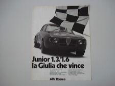 advertising Pubblicità 1972 ALFA ROMEO GIULIA GT GTA JUNIOR 1.3/1.6
