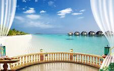 3D Balcony Seaview Maldives Full Wall Mural Photo Wallpaper Printed Home Decor