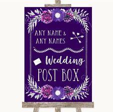 Wedding Sign Poster Print Purple & Silver Card Post Box