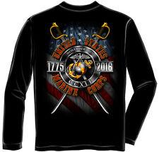 USMC Marine Corps Birthday 2016 Long Sleeve Black T-Shirt