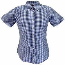 RELCO rétro blu tessuto a quadretti donna con bottoni manica corta camicie