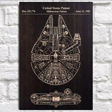 Vintage Star wars poster Millennium Falcon Patent print Panel effect Wood art