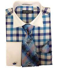 NWT 5PC Spread White Collar Dress Shirt Blue Navy Check Gingham Italian Fashion
