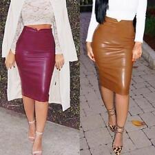 Sexy Bodycon Women Ladies Faux Leather High Waist Pencil Skirt Midi Dress платья