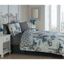 Twin Queen King Bed Bag Gray Blue Paris Eiffel Tower Vintage 8 pc Comforter Set