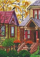 PRINT OF PAINTING 5x7 INCH HALLOWEEN HOUSES TREES PUMPKINS FOLK ART CROW RAVEN