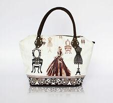 Designo Women's Handbag French Vintage Design Tote Shoulder Bag Canvas Bag