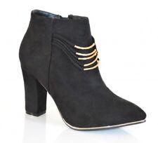 BOTTES NOIRS OR femme chaussures talon haut bottines faux cuir daim fils doré H5