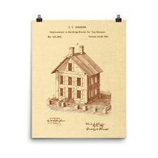 Building Blocks 1872 Vintage Toy Patent Art Print Poster, 8x10 or 16x20