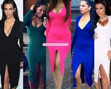 New Sexy Womens Deep V Long Sleeve Cocktai Evening Party Slim Bodycon Dress USA