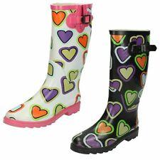 Womens Spot On Heart Print Wellington Boots