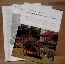 Article Comment avoir un jardin fleuri toute l'année  ,1956 , clipping