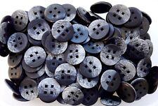Large 28mm 44L Charcoal Grey & Black Brush Effect Coat 4 Hole Buttons (Q413)