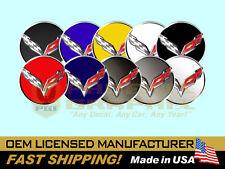 2014-15 Corvette C7 Stingray Chrome Black Gray Wheel Hub Center Cap Decal Set