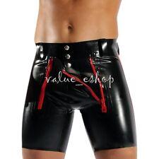 Men's Faux Leather PVC Lace Up Underwear Boxer Briefs Wetlook Shorts Underpants
