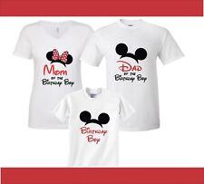 Red Bow Minnie & Mickey Birthday Boy Family Birthday matching shirts