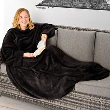 Couverture polaire douillette avec des manches et poche TV 150x180cm noir