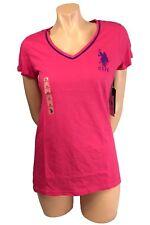 U.S. Polo Assn. Women's Short Sleeve V-Neck T-Shirt Neon Large Pony Logo 213509