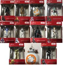 Star Wars Christmas Ornaments by Hallmark, Yoda, Darth Vader, R2D2. BB8, KyloRen