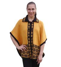 Womens Soft Warm Alpaca Wool Blend Knitted Cape Coat Poncho Flowers Design