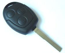 Ford Focus Fiesta Mondeo etc 3 Button Remote Key Fob Case + Blank Flat Blade Key