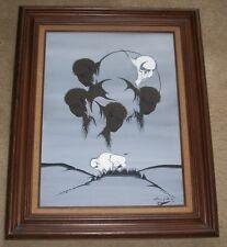 LORENZO BEARD GREAT WHITE BUFFALO OIL CANVAS PAINTING NATIVE AMERICAN INDIAN ART