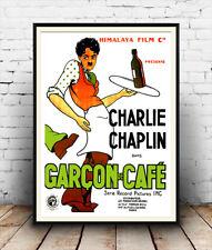 Garcon de cafe: classique charlie chaplin film reproduction affiche, wall art.