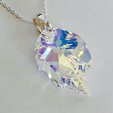 Swarovski Elements 925 Sterling Silver Crystal Necklace Pendant Jewellery Leaf