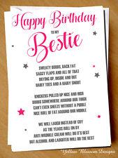 Funny Cheeky Happy Birthday Card Best Friend Bestie Novelty Girlie Girls Gift