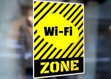 Jaune Signe rayures noires WIFI Zone Large Auto-Adhésif Fenêtre Magasin Signe 2827