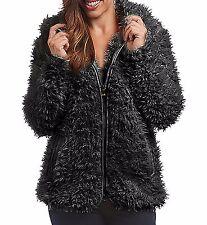 Madden Girl Women's Black Cozy Faux Fur Hooded Zip Up Jacket Size M, L