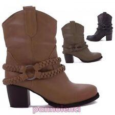 Bottes texans basses ceinture fine tressé femmes chaussures bottes neuf Y1627
