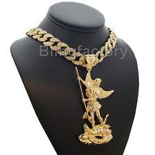 "Hip Hop Saint Michael Archangel Pendant & 18"" Full Iced Cuban Choker Chain Set"