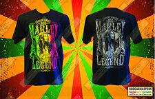 BOB MARLEY RED GOLD GREEN REBEL MUSIC LEGEND  DOUBLE SIDED BLACK T-SHIRT REGGAE