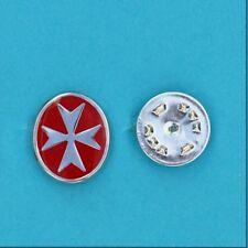 925 Sterling Silver Malta Maltese Cross with Enamel Lapel Pin