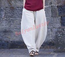Womens Loose Linen Blend Harem Pants Retro Wide Leg Elastic Waist Baggy Trousers