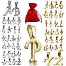 Colgante + bolsa de regalo letra alfabeto nombre collar plata oro mujer acero