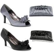 Para Mujer Tacón De Plataforma De Satén Rosa Ribete Gris Oscuro Negro señoras Bolsa De Embrague Shoe Set