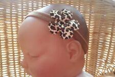 """Bébé fille / poupée reborn 2 """"imprimé léopard fleur bandeau plusieurs couleurs 0-36 mois"""