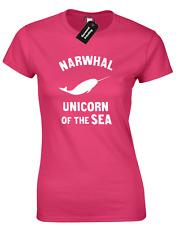 NARWHAL UNICORN OF SEA LADIES T SHIRT FUNNY CUTE DESIGN ZOELLA JENNER PANDA TOP